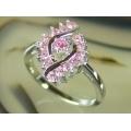 #0330 Hõbesõrmus roosade tsirkoonidega