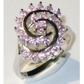 #0818 Silver ring with pink zircon