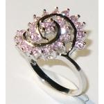 #0818 Hõbesõrmus roosade tsirkoonidega