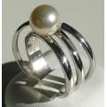 #2915 Hõbedast sõrmus pärliga