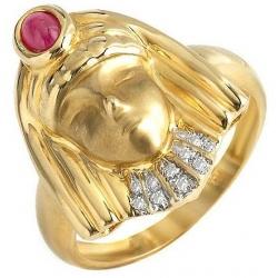 #1980 Kuldsõrmus rubiiniga ja teemantidega (eksklusiivne)