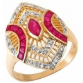 #2304 Gold ring with ruby and diamonds