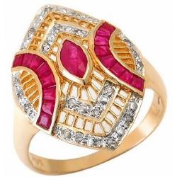 #2304 Kullast sõrmus rubiinidega ja teemantidega