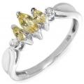 #2452 Valgest kullast sõrmus tsitriinidega ja teemantitega