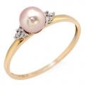 #2923 Kullast sõrmus pärliga ja teemantidega