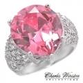 #6906 Hõbesõrmus tsirkoonidega ja roosa safiiriga