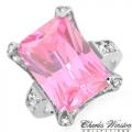 #6911 Hõbesõrmus tsirkoonidega ja roosa safiiriga