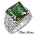 #6919 Hõbesõrmus tsirkoonidega ja rohelise smaragdiga